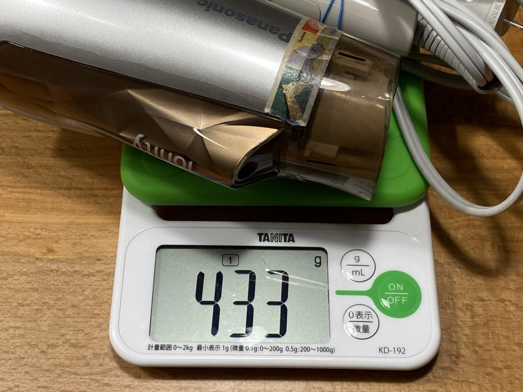 パナソニック ヘアドライヤー ナノケア EH-NA0B 重量比較