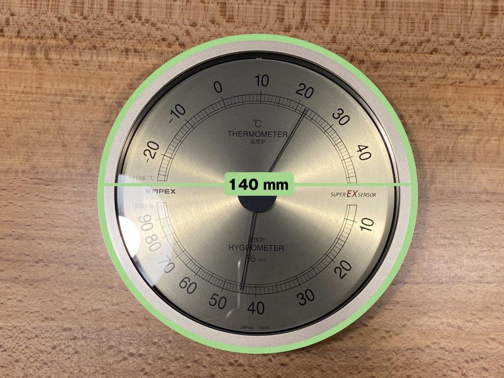 エンペックス気象計 温度湿度計 スーパーEX 直径
