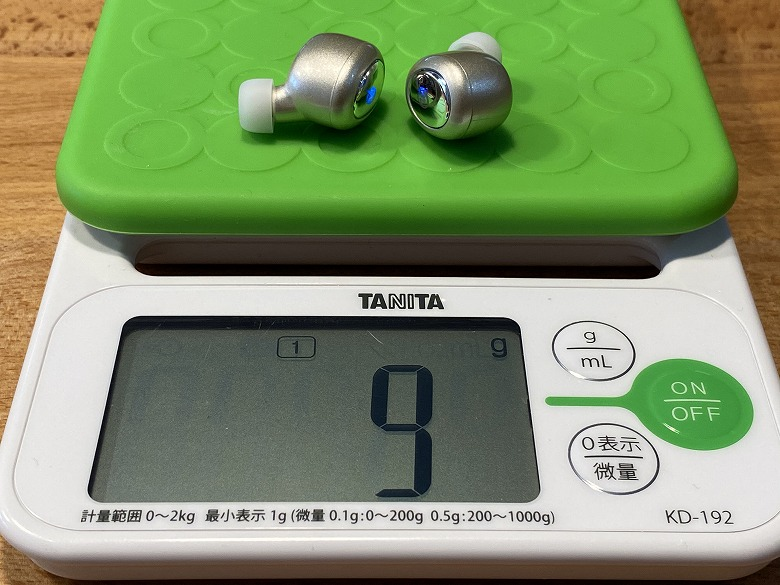 M-SOUNDS MS-TW21 イヤホンの重さ