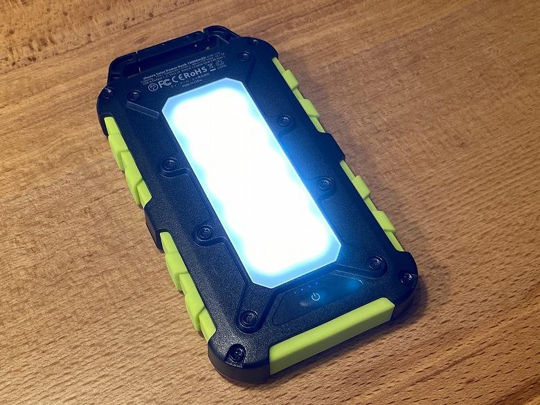 cheero Solar Power Bank 10000mAh LEDライト点灯