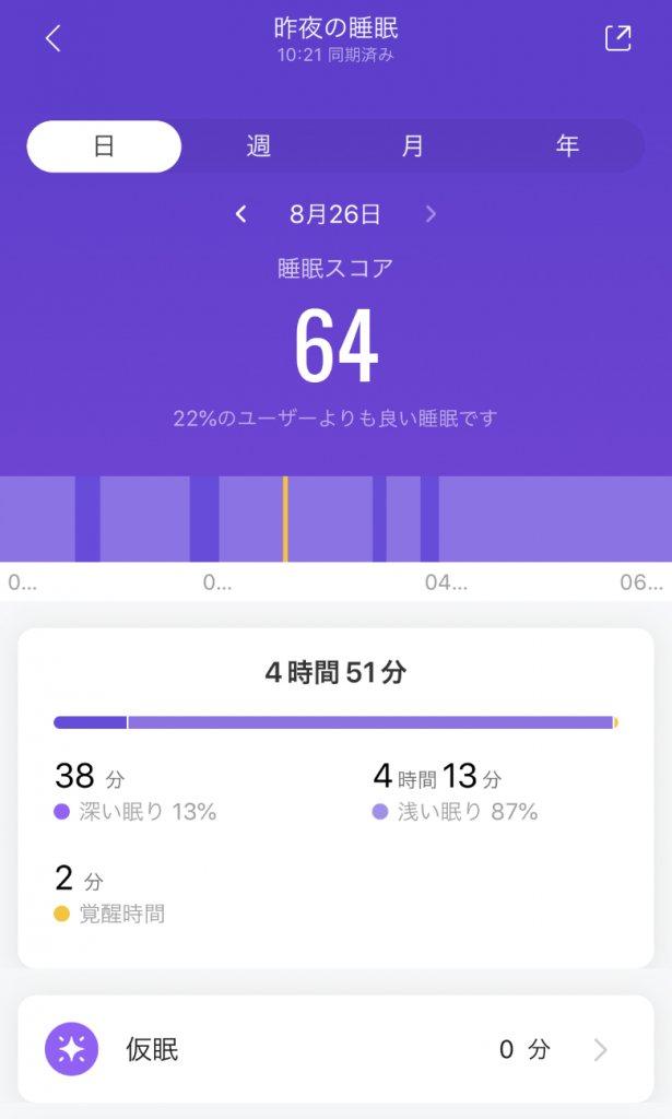 Xiaomi Mi Band 5 睡眠状態