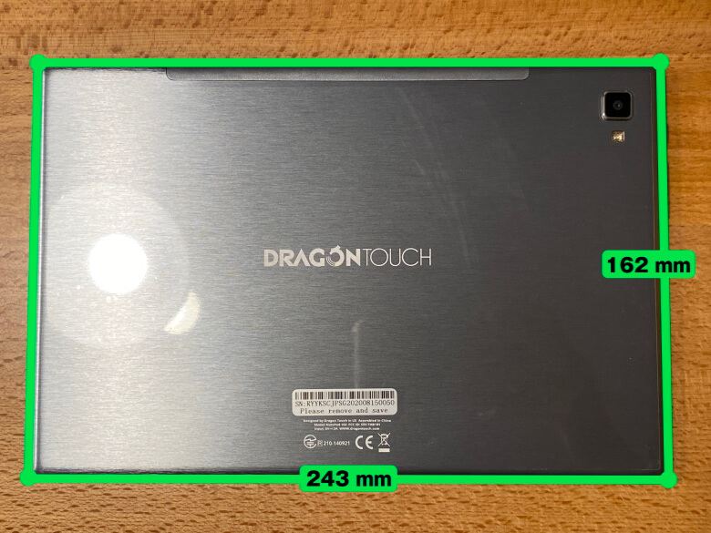 Dragon Touch NotePad 102 サイズ