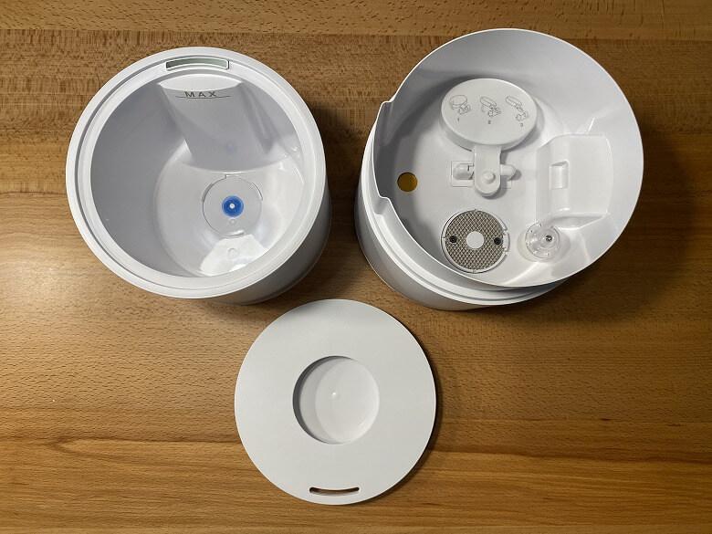 Milin 除菌加湿器 3つのパーツ