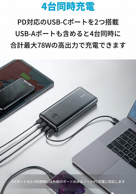 Anker PowerCore III Elite 25600 87W 4台同時充電