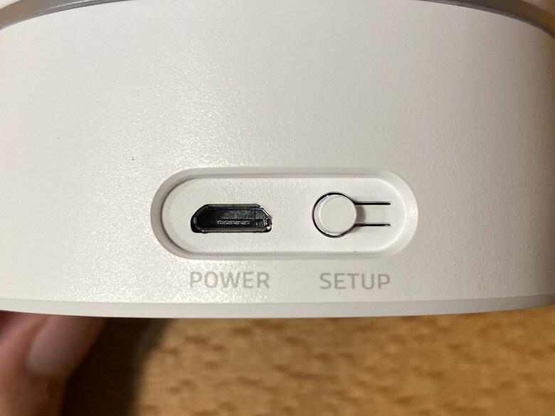Eufy IndoorCam 2K Pan & Tilt Micro USB端子とSETUPボタン
