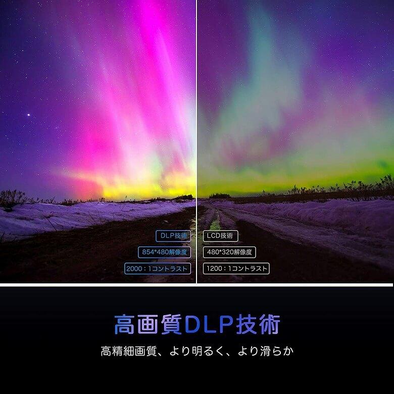 AKASO ミニビデオプロジェクター 高画質DLP技術