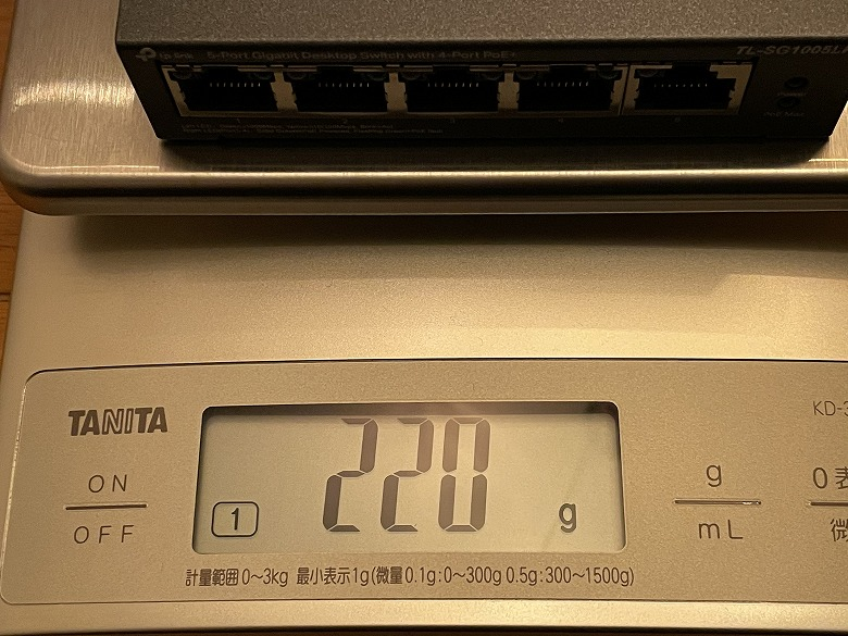 TP-Link TL-SG1005LP 重さ